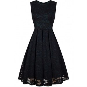 Vintage Style Green Lace Retro Holiday Dress